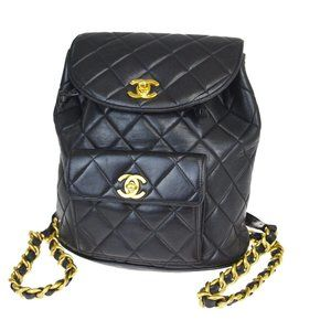 CHANEL CC Logo Chain Backpack Bag Leather Black Vi